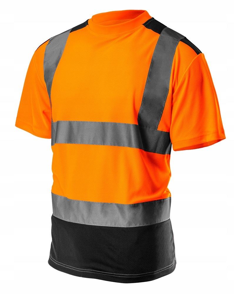 T-shirt ostrzegawczy, ciemny dół, pomarań,81-731-M