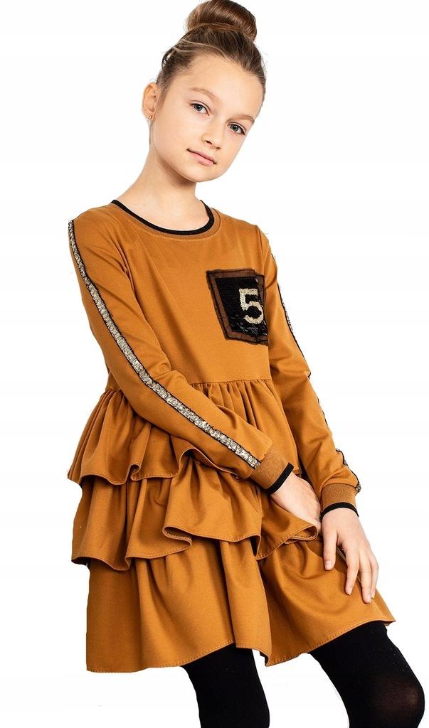 Sukienka falbanki karmelowa cekiny Qba kids 158