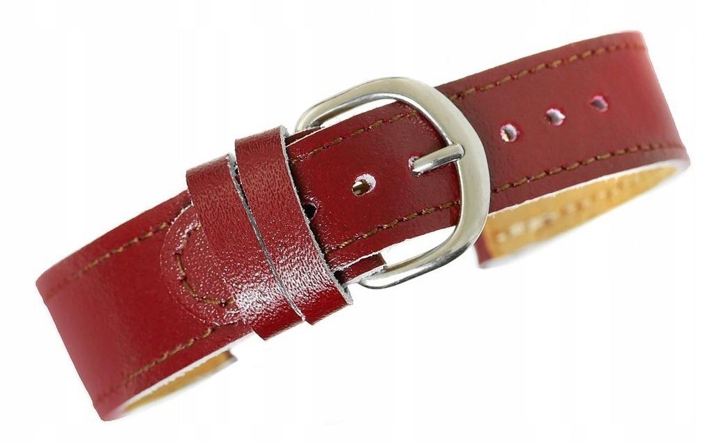 Pasek do zegarka - Skóra naturalna 20 mm - Bordowy