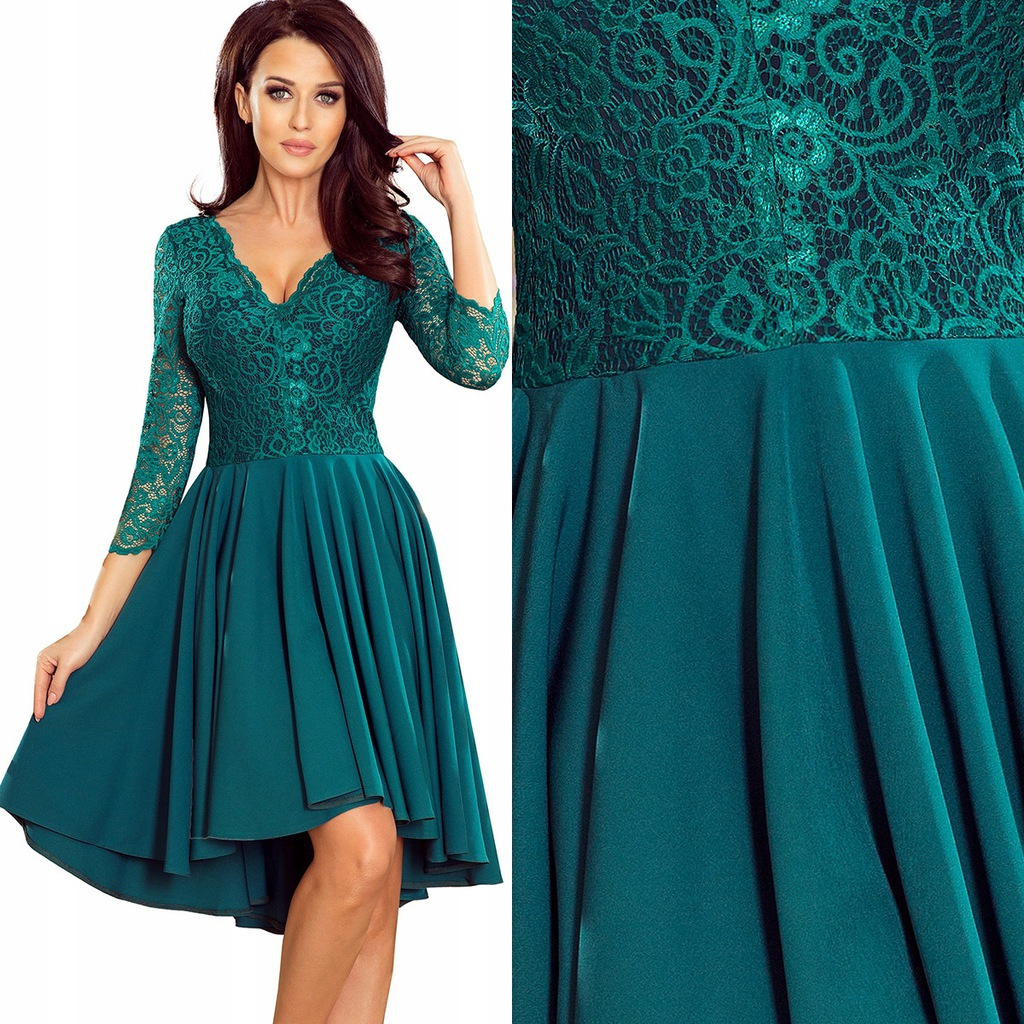 Asymetryczna sukienka Nicolle koronka wesele 463XL