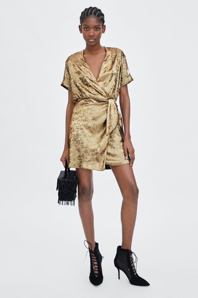 Metaliczna złota kopertowa sukienka Zara S 36 8183210722