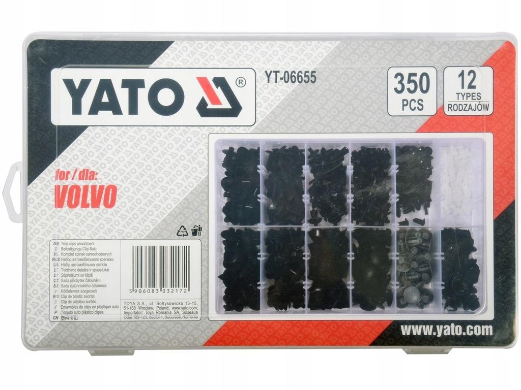 Spinki samochodowe VOLVO 350 szt YATO YT-06655