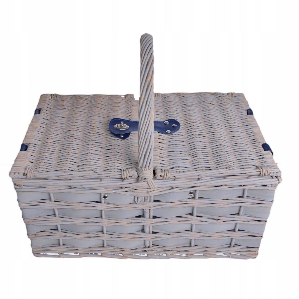 Kosz koszyk piknikowy 4 osoby wiklina wyposażenie