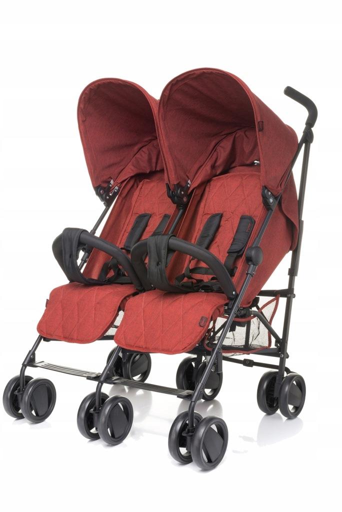 Wózek spacerowy dla bliźniaków TWINS RED stalowy