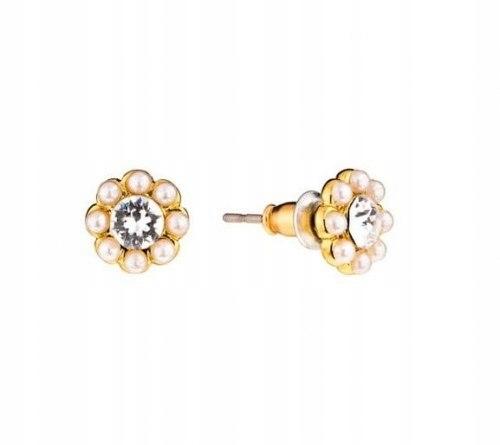 Kolczyki kwiatki z perełkami i kryształkiem Colibr