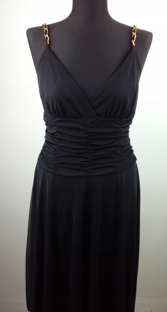 Czarna imprezowa sukienka NEW LOOK M/L złoto