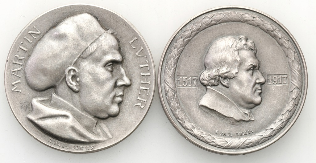 Niemcy. Martin Luther - zestaw 2 medali - SREBRO