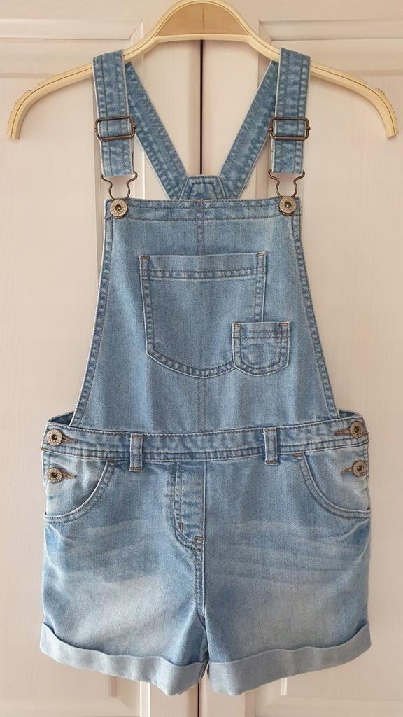 TU r. 134 spodenki jeansowe ogrodniczki 9l