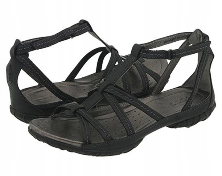 Czarne skórzane sandały Ecco 36