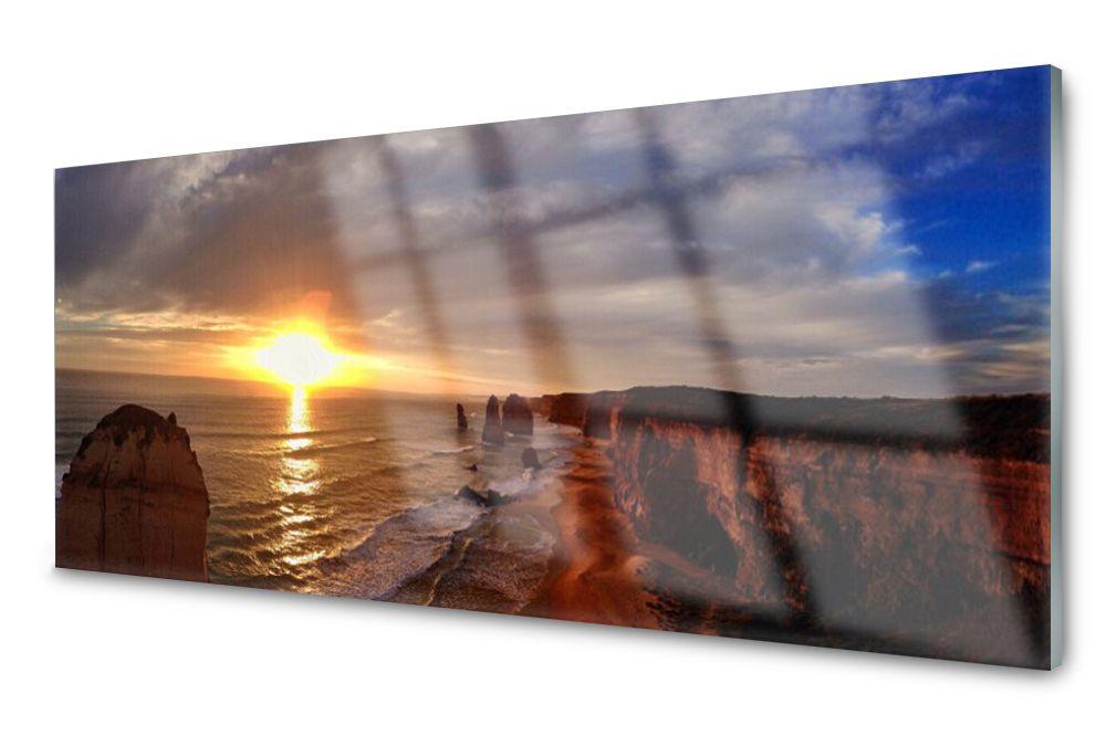 Lacobel Panel Szklany Ścienny Morze Słońce 120x60