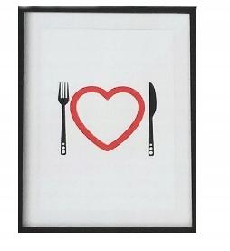 Plakat Serce na talerzu Nóż i Widelec 40 x 50 cm