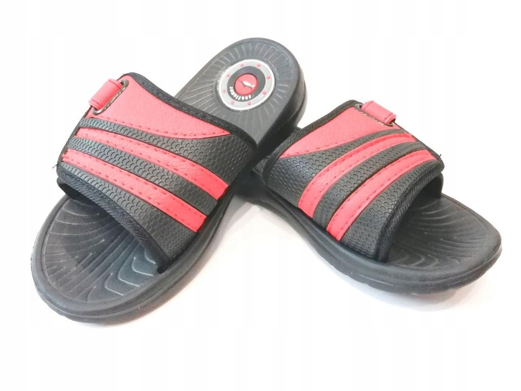 Buty Klapki dziecięce chłopięce Czarne Czerwone 35