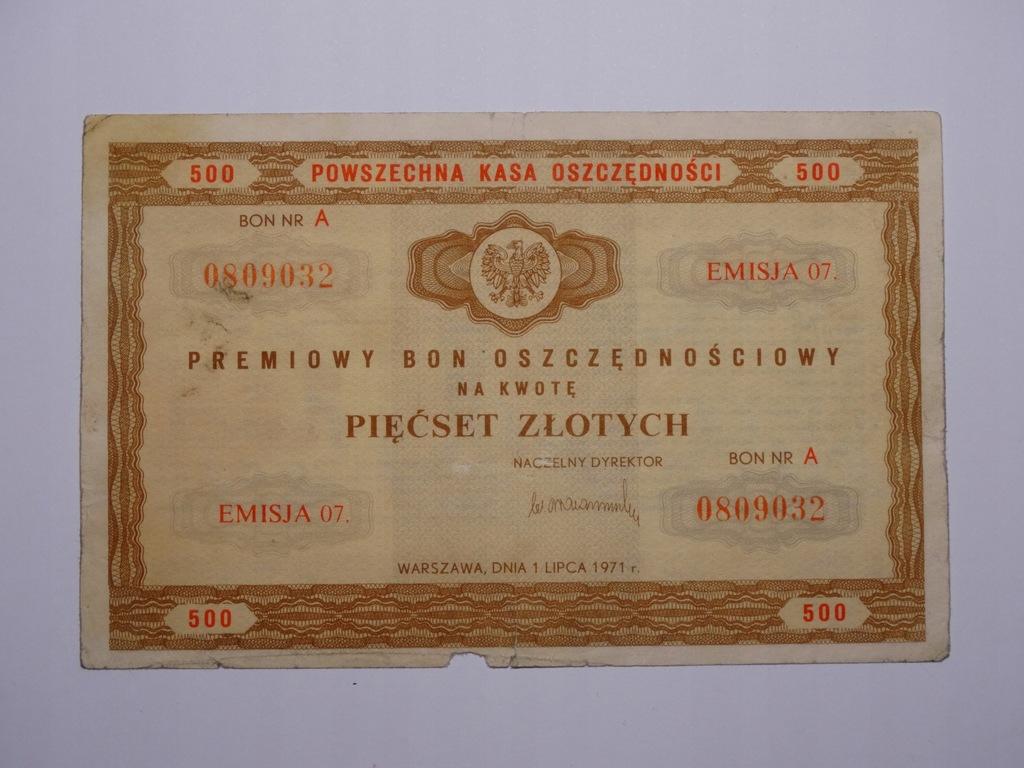 POLSKA - Bon Oszczędnościowy 500 zł. 1971r.