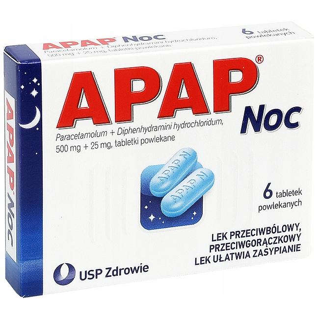 Apap Noc ból gorączka paracetamol na sen 6 tab