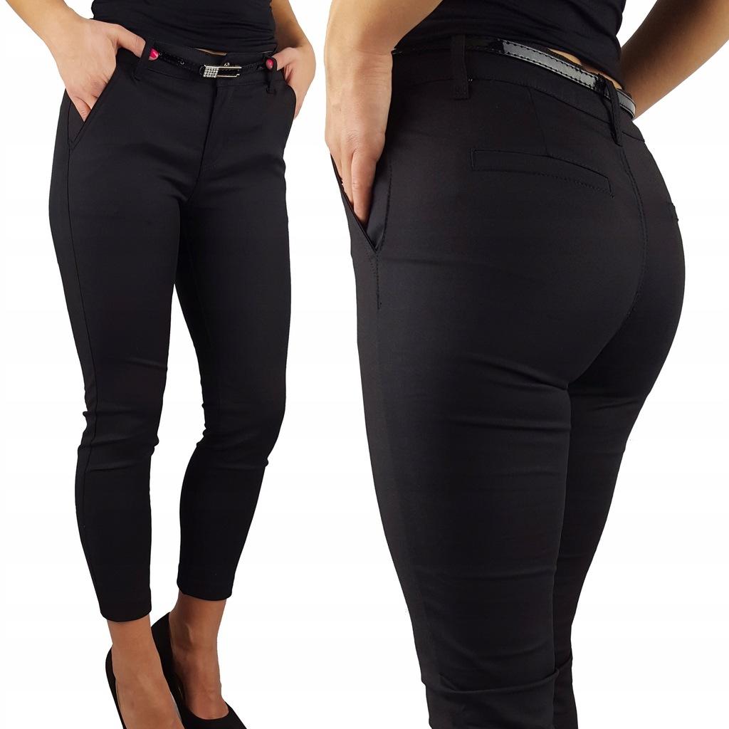 Modne Spodnie cygaretki Damskie Czarne BLACK 42/XL