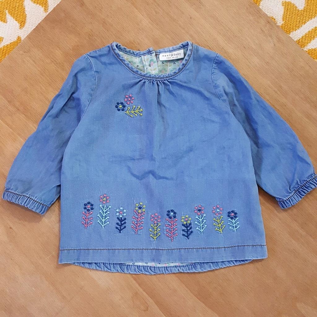 next modna jeansowa bluzka dziewczęca 6-9 mies 74