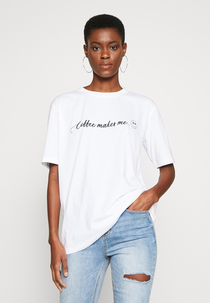 I1T510*MISSGUIDED TALL BIAŁY T-SHIRT PRINT 38 P00