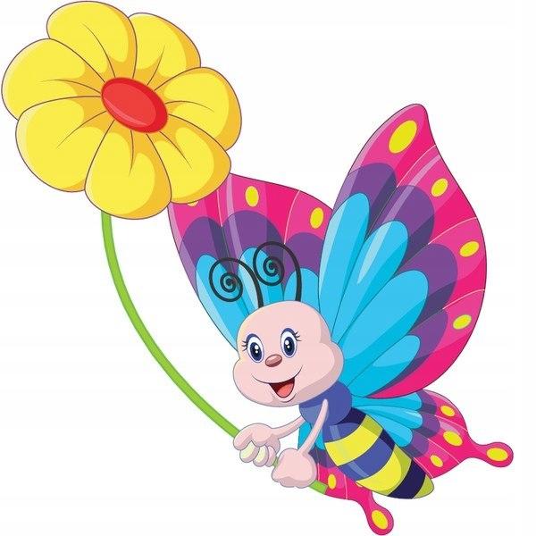 Motyl z żółtym kwiatem 30x30cm naklejka dziecko śc