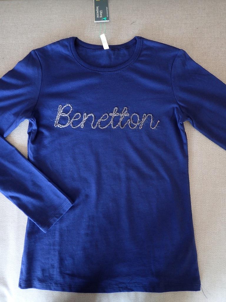 Benetton nowa bluzeczka z wyszywanym logo 140 cm