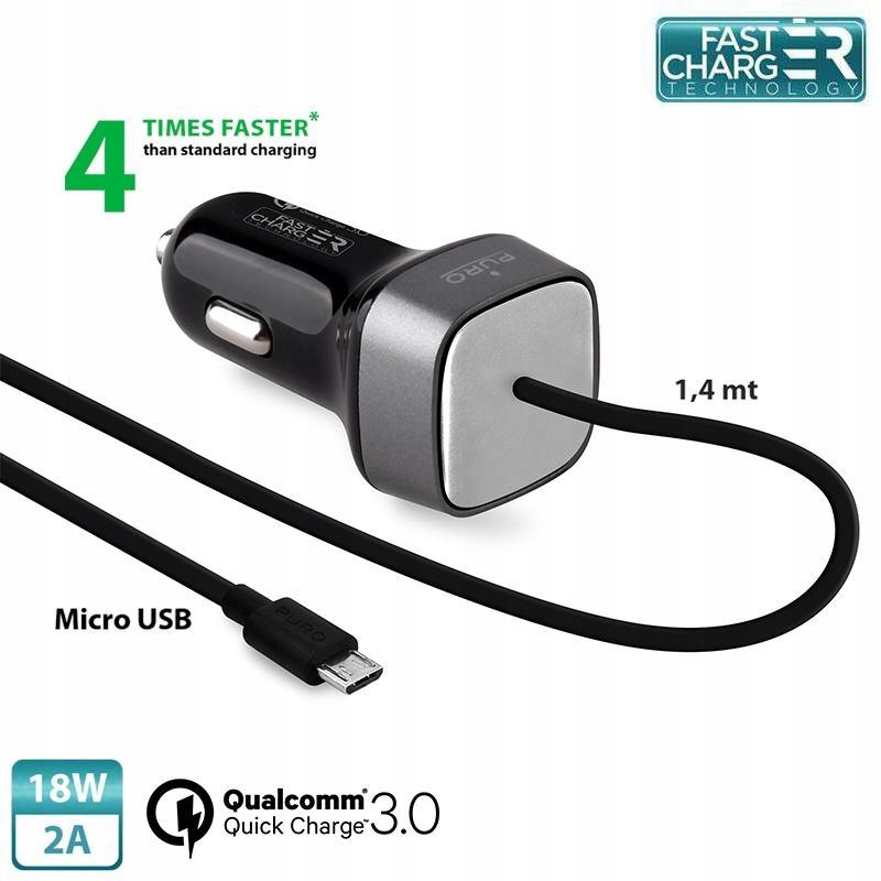 ŁADOWARKA SAMOCHODOWA Z KABLEM MICRO USB 2A QC 3.0