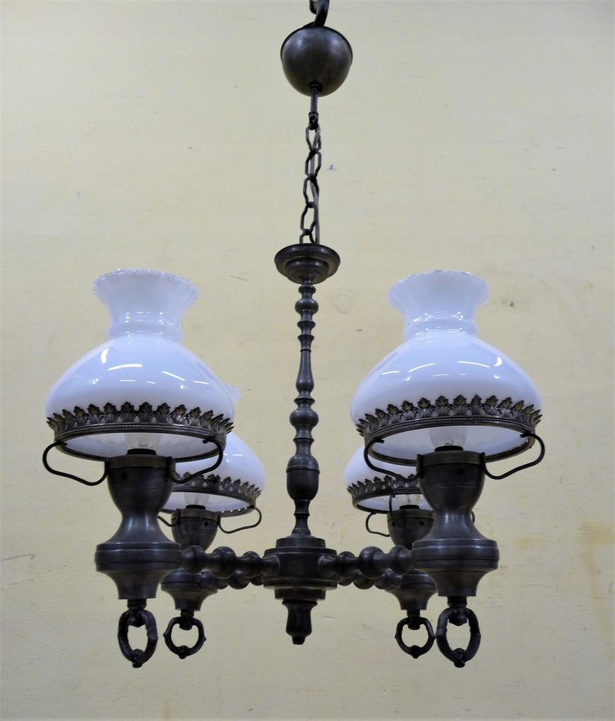 PIĘKNY CYNOWY ŻYRANDOL LAMPA WISZĄCA
