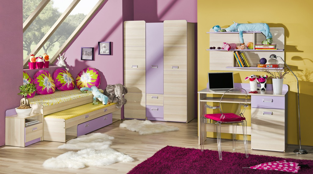 biurko podwójne łóżko wysuwane dzieci LORENTO 7