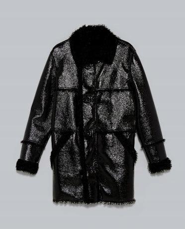 ZARA,LUX,DWUWARSTWOWY skórzany płaszcz,kożuszek,L