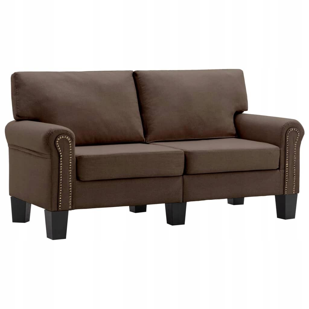 2-osobowa sofa, brązowa, tapicerowana tkaniną