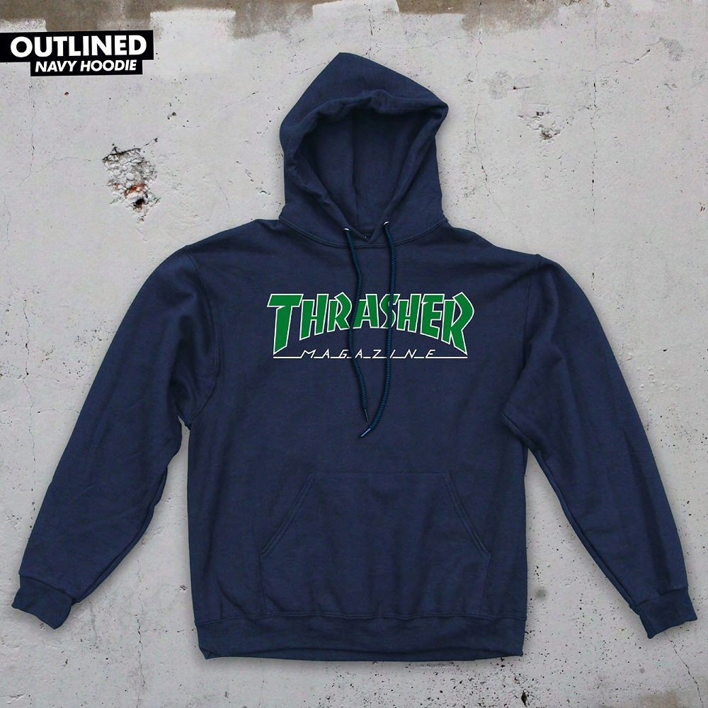 THRASHER OUTLINED HOODIE NAVY HOLIDAY Rozmiar:M