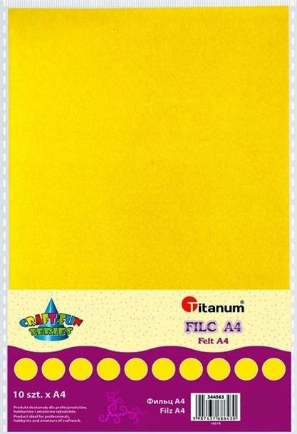 Filc dekoracyjny, 10ark format A4 cytry, CRAFT-FUN
