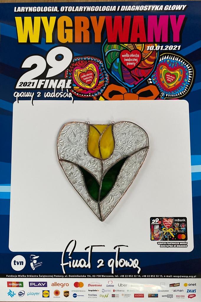 Witraż serce z żółtym tulipanem dla WOŚP