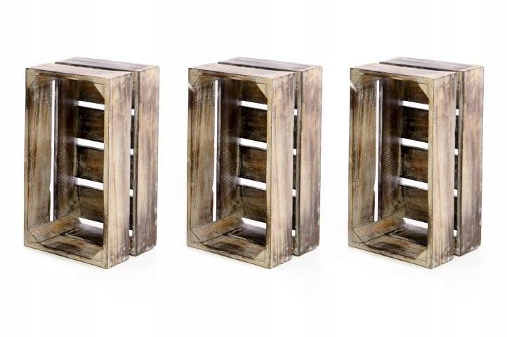 Skrzynia drewniana 3 szt 39 x 21 x 17 cm