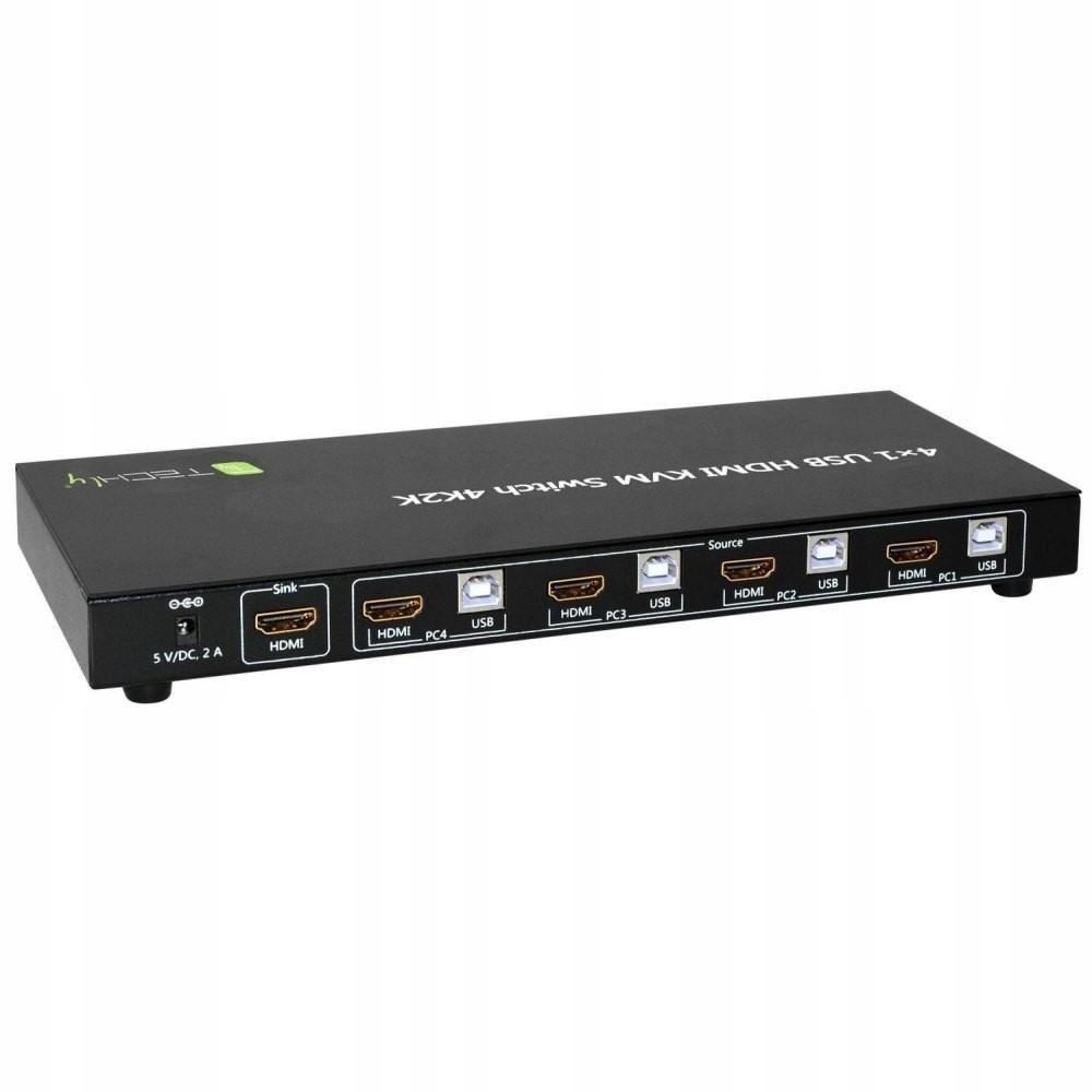 4-portowy przełącznik KVM HDMI/USB 4x1 z audio
