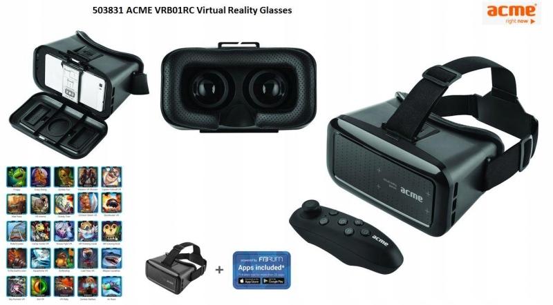 Gogle wirtualnej rzeczywistości z kontrolerem Acme