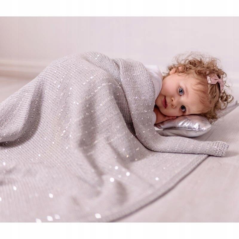 Bizzi Growin Silver Sparkling Blanket kocyk tkany