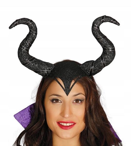 Opaska rogi diablicy czarne z brokatem Halloween
