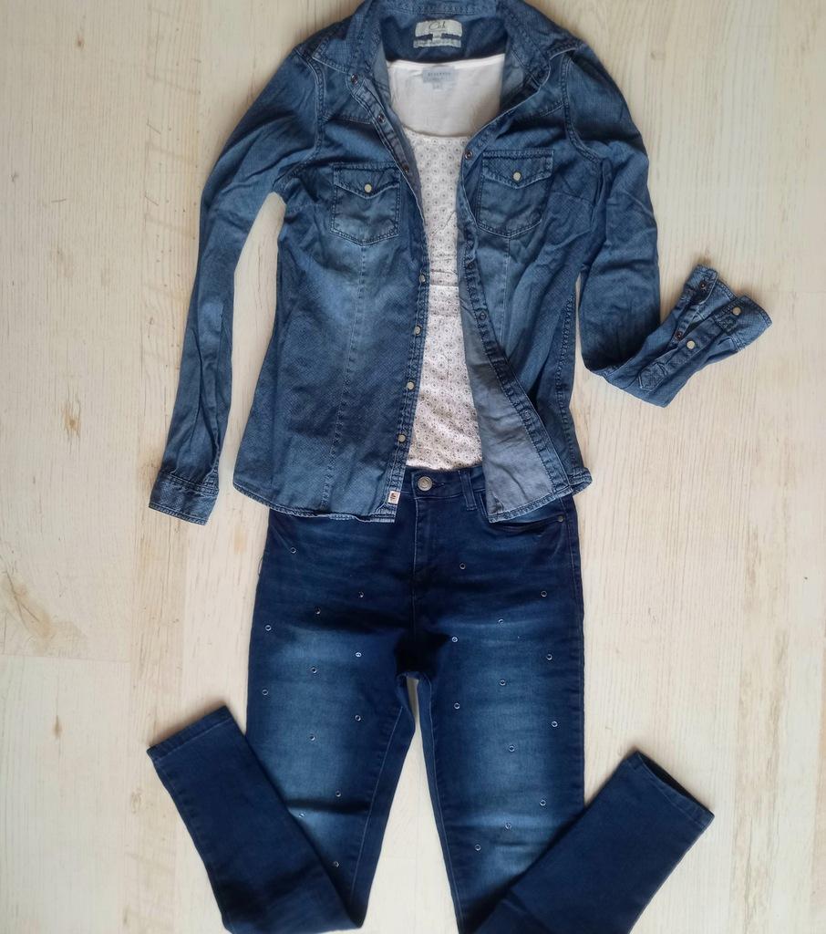 Zestaw jeans Koszula + Spodnie z dżetami + Top r.S