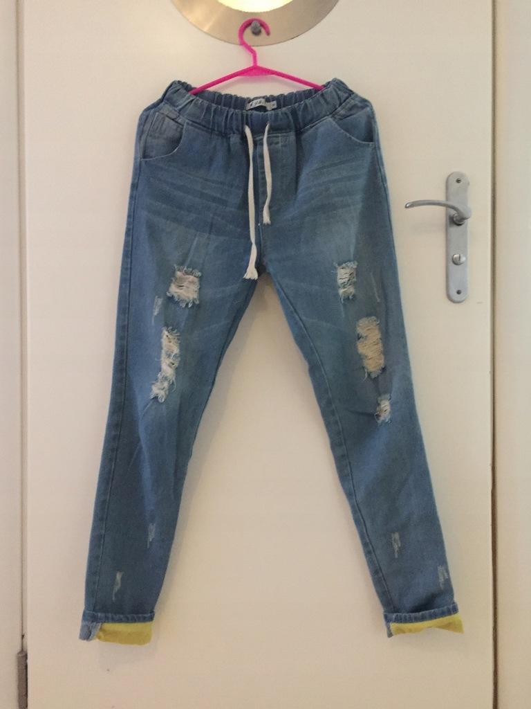 Spodnie jeansy boyfriend s dziury neonowe hit!!!!!