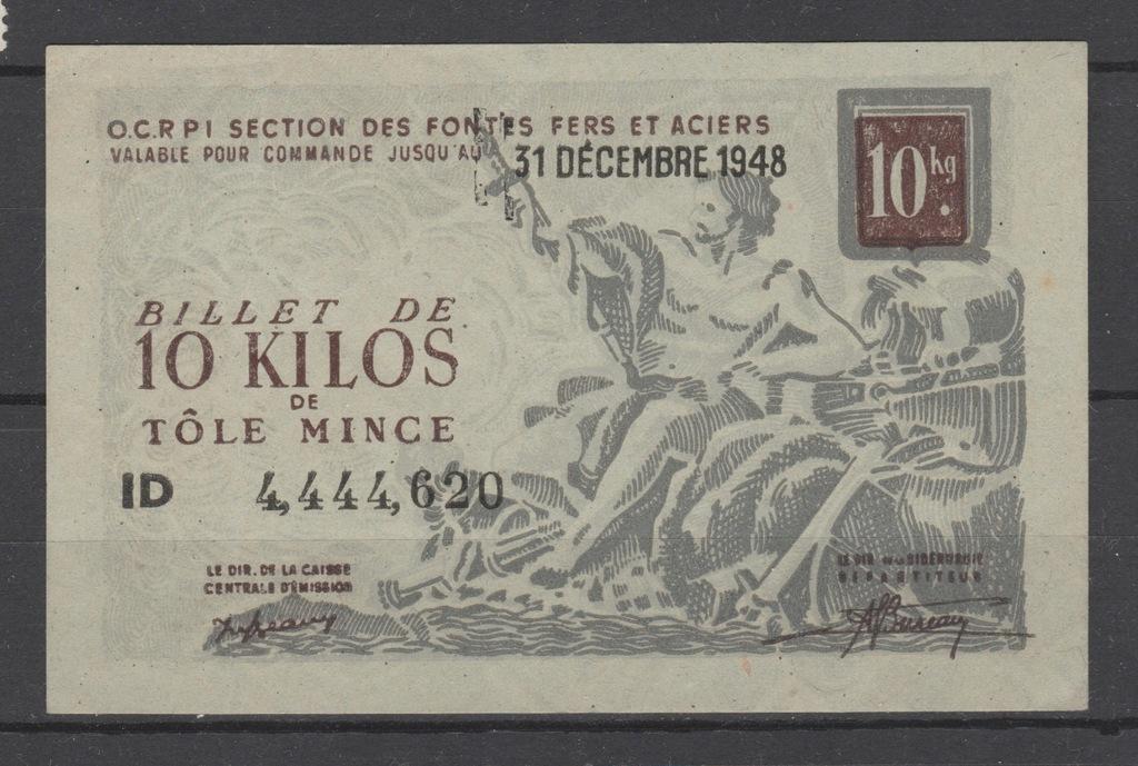 1948 FRANCE Rzadki Bilet banknot z Pieknym Numerem