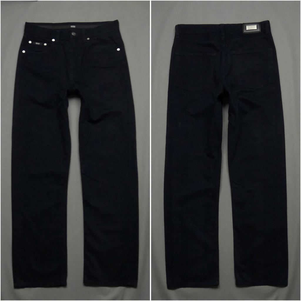 HUGO BOSS Alabama Granatowe proste spodnie W32 L32