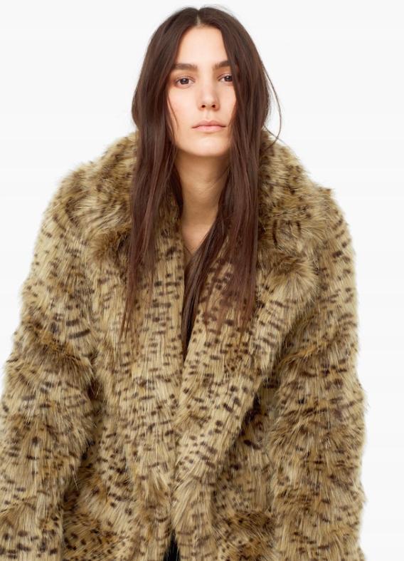 MANGO faux fur sztuczne futro Leopard r. L OKAZJA