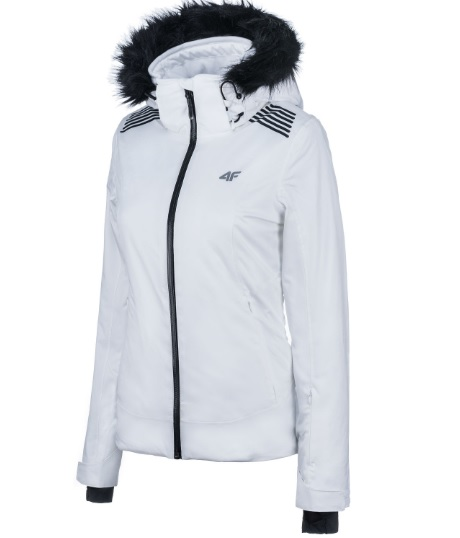 4f biala kurtka narciarska damska