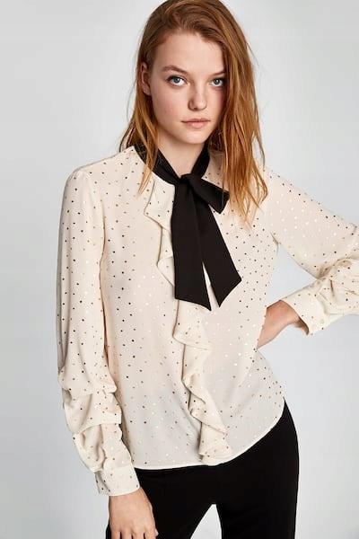 bluzka koszula falbany wiązanie kropki gold zara M