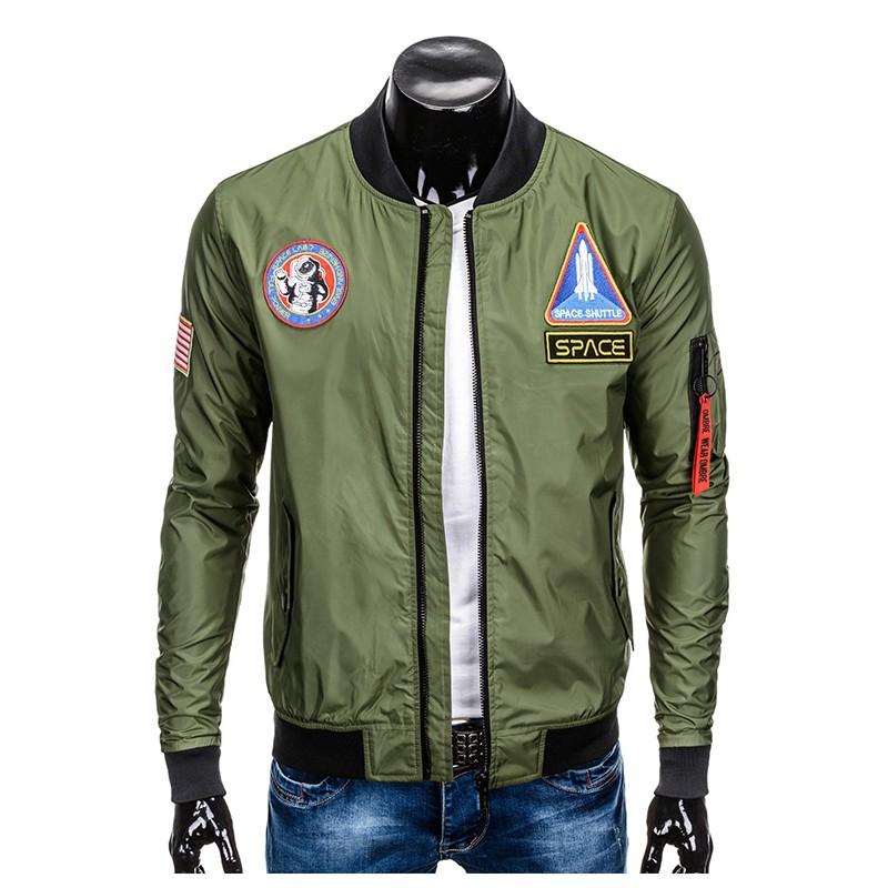 OMBRE Bomber Kurtka Męska Jesień Pilotka Khaki XL