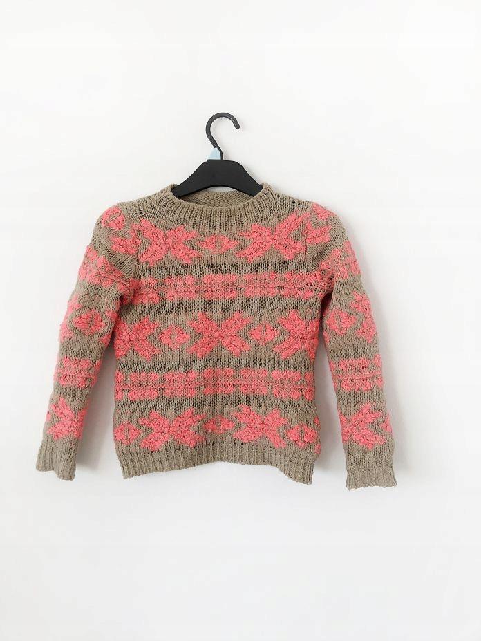 ciepły jesienny sweter Benetton norweskie wzory