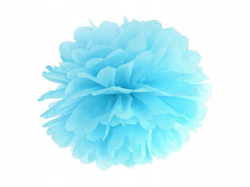 Pompon bibułowy kolor błękit 35cm 100 szt