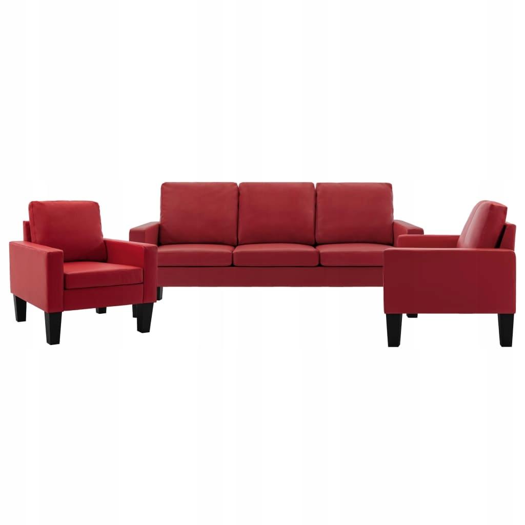 3-częściowy komplet wypoczynkowy, czerwony, sztucz