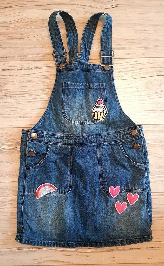 Jeansowa sukienka z aplikacjami rozmiar 134