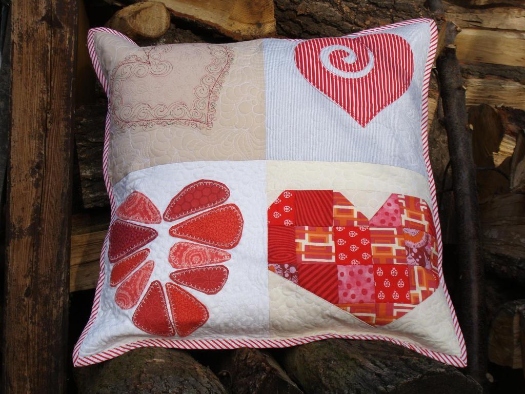 patchworkowa poduszka 4 serca