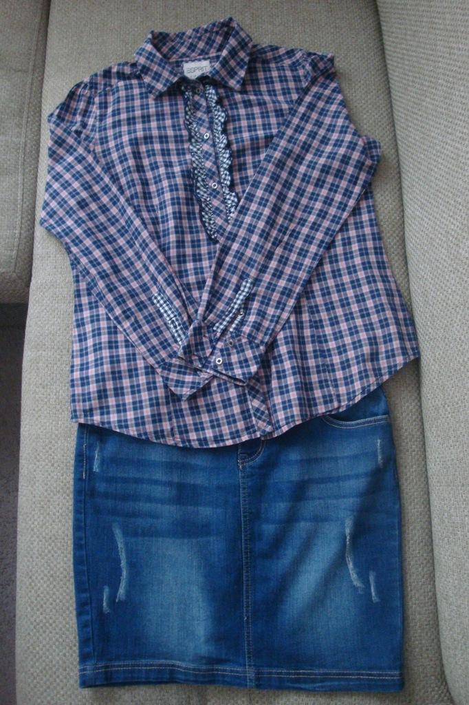Jeansowa spódnica+koszula w kratkę rozm.42